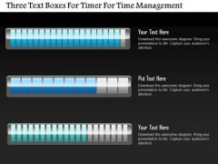 Business Diagram Three Text Boxes For Timer For Time Management PowerPoint Slide