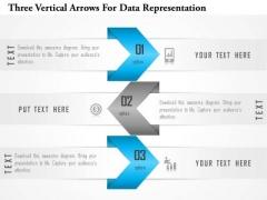 Business Diagram Three Vertical Arrows For Data Representation Presentation Template