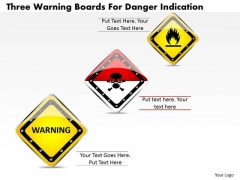 Business Diagram Three Warning Boards For Danger Indication Presentation Template