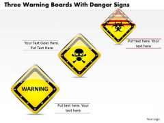 Business Diagram Three Warning Boards With Danger Signs Presentation Template