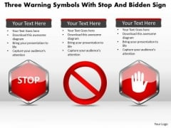 Business Diagram Three Warning Symbols With Stop And Bidden Sign Presentation Template