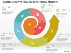 Business Diagram Twisted Arrow With Icons For Strategic Planners Presentation Template