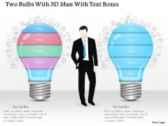 Business Diagram Two Bulbs With 3d Man And Text Boxes Presentation Template