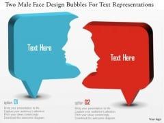 Business Diagram Two Male Face Design Bubbles For Text Representations Presentation Template