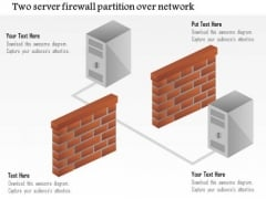 Business Diagram Two Servers Firewall Partition Over Network Ppt Slide
