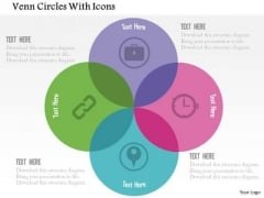Business Diagram Venn Circles With Icons Presentation Template
