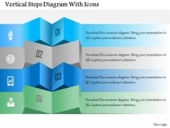Business Diagram Vertical Steps Diagram With Icons Presentation Template