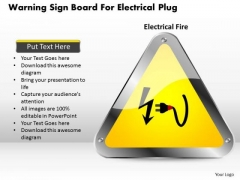 Business Diagram Warning Sign Board For Electrical Plug Presentation Template