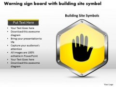 Business Diagram Warning Sign Board With Building Site Symbol Presentation Template