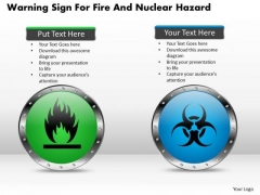 Business Diagram Warning Sign For Fire And Nuclear Hazard Presentation Template