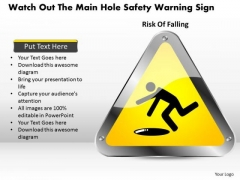 Business Diagram Watch Out The Main Hole Safety Warning Sign Presentation Template