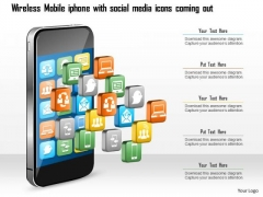 Business Diagram Wireless Mobile Iphone With Social Media Icons Coming Out Ppt Slide