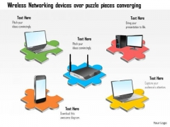Business Diagram Wireless Networking Devices Over Puzzle Pieces Converging Ppt Slide