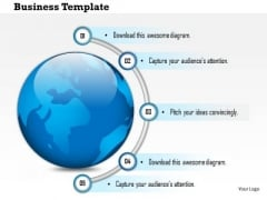 Business Diagram With Globe And Four Staged Road Map Presentation Template