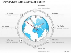 Business Diagram World Clock With Globe Map Center Presentation Template