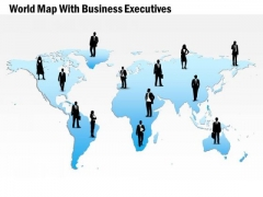 Business Diagram World Map With Business Executives Presentation Template