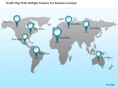Business Diagram World Map With Multiple Pointers For Business Location Presentation Template