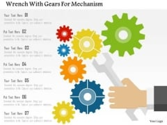 Business Diagram Wrench With Gears For Mechanism Presentation Template