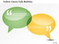 Business Diagram Yellow Green Talk Bubbles Presentation Template
