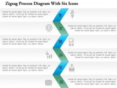 Business Diagram Zigzag Process Diagram With Six Icons Presentation Template