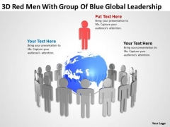 Business Diagrams 3d Red Men With Group Of Blue Global Leadership PowerPoint Slides