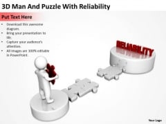 Business Diagrams Templates 3d Man And Puzzle With Reliability PowerPoint