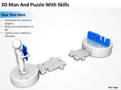Business Diagrams Templates 3d Man And Puzzle With Skills PowerPoint