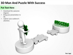 Business Diagrams Templates 3d Man And Puzzle With Success PowerPoint