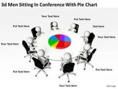 Business Diagrams Templates 3d Men Sitting Conference With Pie Chart PowerPoint