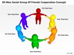Business Entity Diagram 3d Men Social Group Of Friends Cooperation Concept PowerPoint Slides