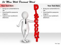 Business Expansion Strategy 3d Man With Discount Word Adaptable Concepts