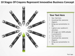 Business Flow Diagrams Of Crayons Represent Innovative Concept PowerPoint Templates