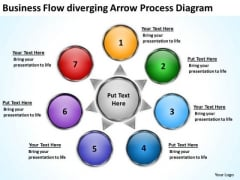 Business Flow Diverging Arrow Process Diagram Circular Spoke PowerPoint Templates