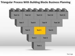 Business Flowchart Process With Building Blocks Planning PowerPoint Slide