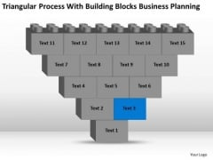Business Flowchart Process With Building Blocks Planning Ppt PowerPoint Slide