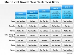 Business Framework Multi Level Growth Text Table Text Boxes 2 PowerPoint Presentation