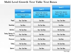 Business Framework Multi Level Growth Text Table Text Boxes PowerPoint Presentation