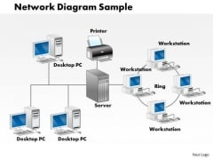 Business Framework Network Diagram Sample PowerPoint Presentation