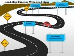 Business Framework Road Map Timeline With Road Signs PowerPoint Presentation