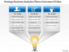 Business Framework Strategy Business Analytics 3 Outcomes Of Idea PowerPoint Presentation