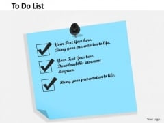 Business Framework To Do List PowerPoint Presentation