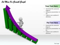 Business Growth Strategy 3d Man On Graph Character