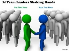 Business Growth Strategy 3d Team Leaders Shaking Hands Character Modeling
