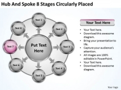 Business Growth Strategy And Spoke 8 Stages Circularly Placed Ppt Developing
