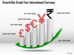 Business Growth Strategy Bar Graph For International Currency Photos