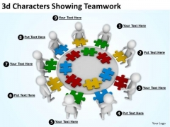 Business Integration Strategy 3d Characters Showing Teamwork Models