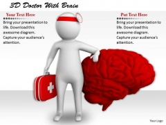 Business Integration Strategy 3d Doctor With Brain Character Models