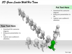Business Integration Strategy 3d Green Leader With His Team Character Models