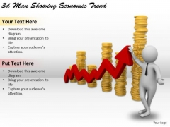 Business Integration Strategy 3d Man Showing Economic Trend Characters