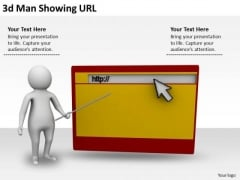Business Integration Strategy 3d Man Showing Url Characters